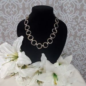 Silver Hoop Linked Necklace